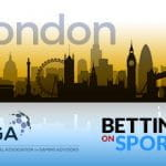Lo skyline di Londra, il logo di IAGA, il logo di Betting on Sports