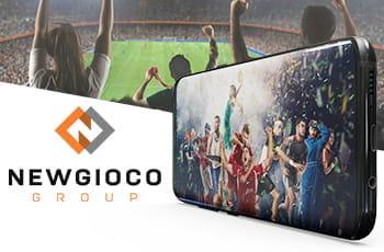 Uno smartphone che riproduce sportivi in azione e il logo di Newgioco