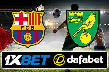 I loghi di Barcellona, 1XBet, Norwich e Dafabet e un calciatore