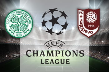 I loghi di Celtic Glasgow, FK Sarajevo e Champions League