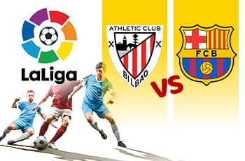 Calciatori a contrasto durante una partita con i loghi della Liga, dell'Athletic Bilbao e del Barcellona