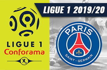 Il logo della Ligue 1 e lo stemma del Paris Saint-Germain