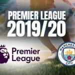 Un calciatore, i loghi della Premier League e del Manchester City e la scritta Premier League 2019/20