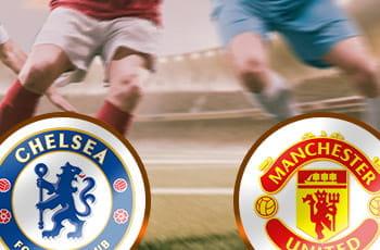 Il logo del Manchester United, il logo del Chelsea, dei calciatori generici sullo sfondo
