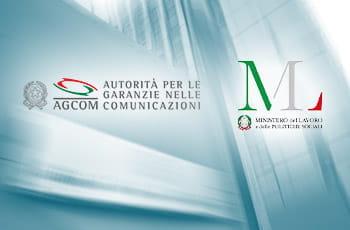 I loghi del Ministero del Lavoro e dell'AGCOM