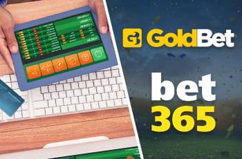 Un laptop con la schermata di un sito scommesse online e i loghi di GoldBet e bet365