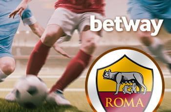 Il logo di betway, il logo di AS Roma, dei calciatori generici in azione sullo sfondo