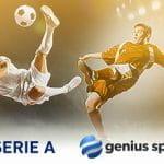 Calciatori in azione e i loghi di Serie A e Genius Sports