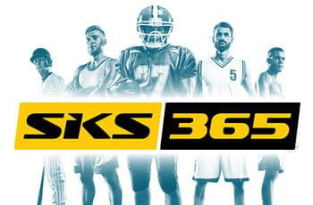 Il logo di SKS365, sullo sfondo cinque sportive generici