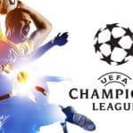 Calciatori in azione e il logo della Champions League