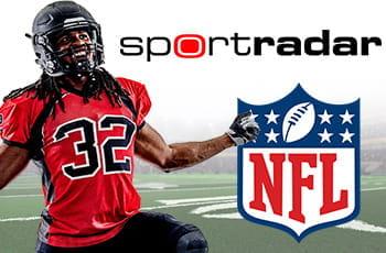 Un giocatore di football americano e i loghi di Sportradar e della NFL