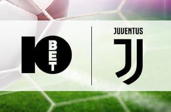 Un calciatore in azione e i loghi di 10bet e Juventus