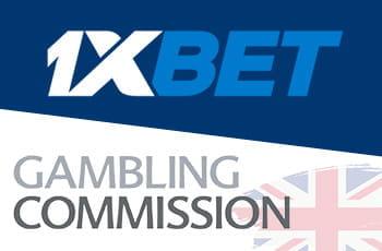 Il logo del bookmaker russo 1XBET, il logo della UK Gambling Commission
