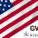 La bandiera degli Stati Uniti, il logo di GVC Holdings e il logo di Kindred