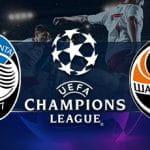 I loghi di Atalanta, Shaktar Donetsk e Champions League