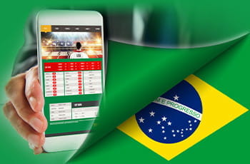 La bandiera del Brasile e uno smartphone collegato a un sito di scommesse