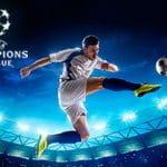 Il logo della Champions League 2019-2020, un calciatore in azione