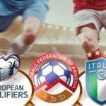 Il logo delle qualificazioni agli Europei di calcio, il logo della Federazione calcistica dell'Armenia, il logo della Nazionale di calcio dell'Italia, sullo sfondo dei calciatori generici