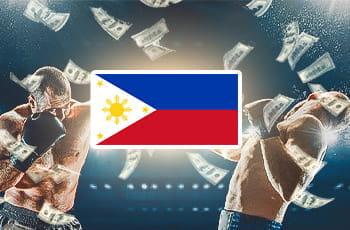 La bandiera delle Filippine, sullo sfondo dei pugili generici in combattimento e delle banconote