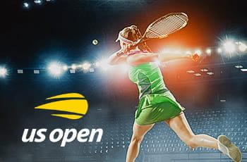 Una tennista generica e il logo dello US Open
