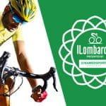 Un ciclista generico in azione e il logo del Giro di Lombardia