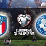 Il logo della nazionale di calcio dell'Italia, il logo delle qualificazioni a Euro 2020, il logo della nazionale di calcio della Grecia