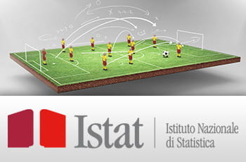 Giocatori di calcio simulato e il logo di Istat