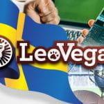 La bandiera svedese, il logo di LeoVegas, uno smartphone connesso ad un sito di scommesse