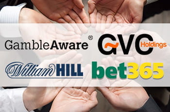 Mani tese e i loghi di GambleAware, GVC Holdings, bet365 e William Hill