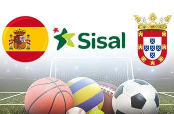 La bandiera spagnola, il logo di Sisal, il logo di Ceuta e palle di diversi sport