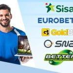 Un uomo con un laptop in mano, i loghi dei bookmaker Sisal, Eurobet, GoldBet, SNAI, Better