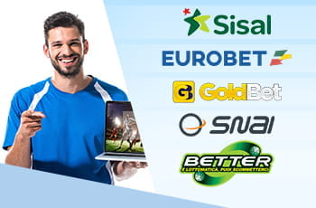 Un uomo con un laptop in mano, i loghi dei bookmaker Sisal, Eurobet, GoldBet, SNAI, Better
