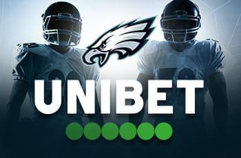 Il logo dei Philadelphia Eagles, il logo di Unibet, sullo sfondo due giocatori di football americano generici