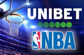 Il logo di Unibet, il logo della NBA, un canestro da basket