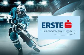Un giocatore di hockey su ghiaccio generico e il logo della EBEL.