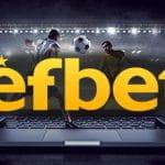 Il logo del bookmaker Efbet, sullo sfondo uno stadio di calcio