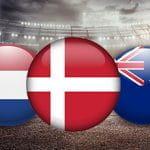 I badge con la bandiera di Paesi Bassi, Danimarca e Australia