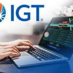 Il logo del Gruppo IGT, un laptop connesso ad un sito scommesse