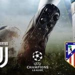 Un calciatore al tiro e i loghi di Juventus, Atletico Madrid e Champions League