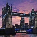 Una veduta di Londra al tramonto