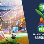 Un calciatore va al tiro e il logo del Mondiale di calcio Under 17