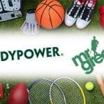 Palloni da basket e rugby, attrezzi da tennis e altri sport, e i loghi di Paddy Power e Mr. Green