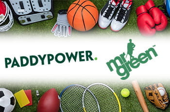 Palloni da basket e rugby, attrezzi da tennis e altri sport, e i loghi di Paddy Power e Mr. Green