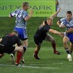 Dei giocatori di rugby in azione