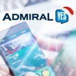 Uno smartphone collegato a un bookmaker online e il logo di AdmiralYES