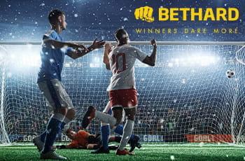 Calciatori in azione e il logo di Bethard