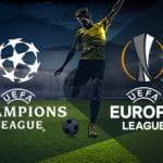 Un calciatore in azione e i loghi di Champions League ed Europa League