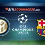 I loghi della Champions League, dell'Inter e del Barcellona