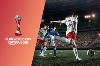 Il logo della Coppa del Mondo per club 2019 e un calciatore generico che esulta