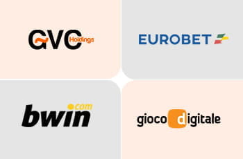 I loghi di GVC Holdings, Eurobet, bwin e Gioco Digitale